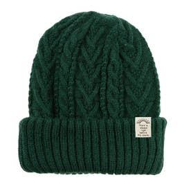 リブ編み2wayニット帽子 (グリーン)