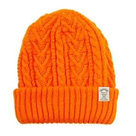 リブ編み2wayニット帽子 (オレンジ)
