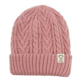 リブ編み2wayニット帽子 (ピンク)