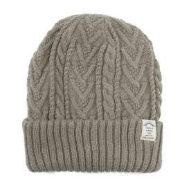 リブ編み2wayニット帽子 (ミックスグレー)