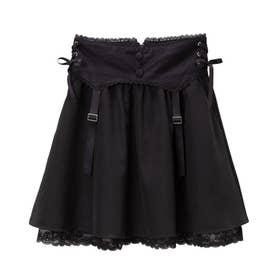 ドットチュールガータースカート (ブラック)