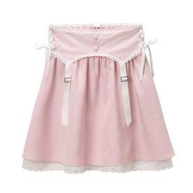 ドットチュールガータースカート (ピンク×ホワイト)