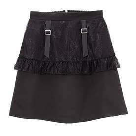 レースフリルガーター台形スカート (ブラック)