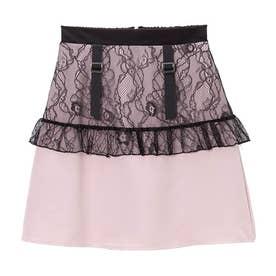 レースフリルガーター台形スカート (ピンク)