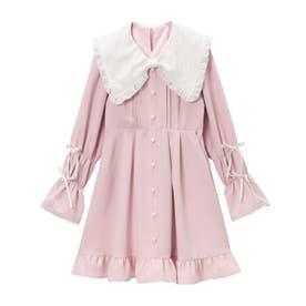 レースリボン襟フリルワンピース (ピンク)