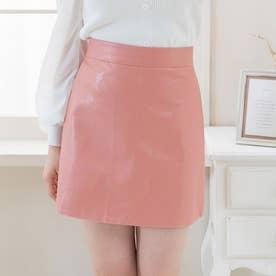 レザーミニスカート (ピンク)