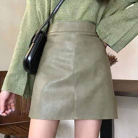 レザーミニスカート (グリーン)