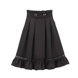 レースガーターデザインスカート (膝下 ブラック)