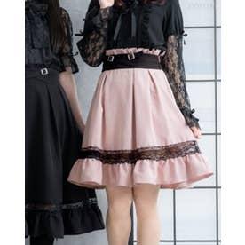 レースガーターデザインスカート (膝上 ピンク)