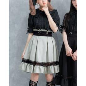 レースガーターデザインスカート (膝上 グリーン)