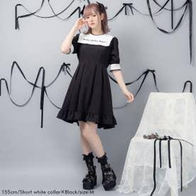 闇刺繍デザインワンピース (ショート 白襟×ブラック)