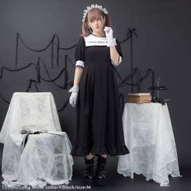 闇刺繍デザインワンピース (ロング 白襟×ブラック)