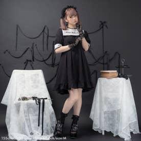 闇刺繍デザインワンピース (ショート グレー襟×ブラック)