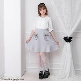 ハートリボンフリルポケットスカート (ブルーグレー)