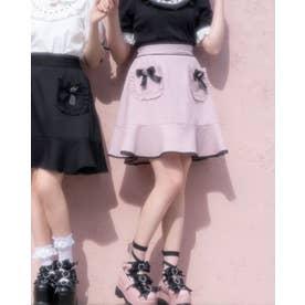 ハートリボンフリルポケットスカート (ピンク)