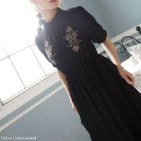 刺繍入りチャイナ半袖ワンピ (ブラック)
