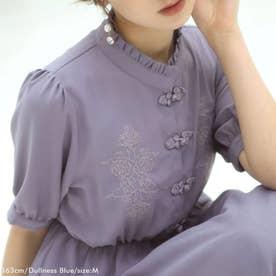 刺繍入りチャイナ半袖ワンピ (くすみブルー)