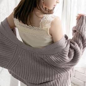 ショルダーレース裾フリルキャミ (ホワイト)