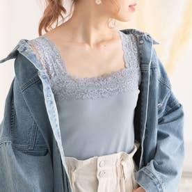 ショルダーレース裾フリルキャミ (くすみブルー)