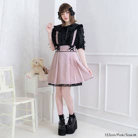 レースサス付きプリーツスカート (ピンク)