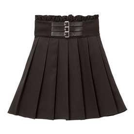 3連バックルプリーツスカート (ブラック)