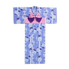 流れ柄orバラファンシー浴衣 (バラ柄ブルー)