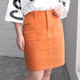 配色ステッチミニスカート (オレンジ)