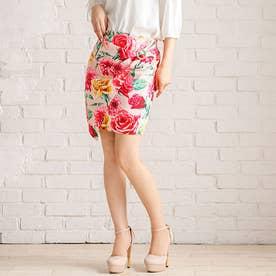 キラキラリング付きタイトスカート (花柄ピンク)