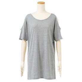 メタル付き肩開きTシャツ (グレー)