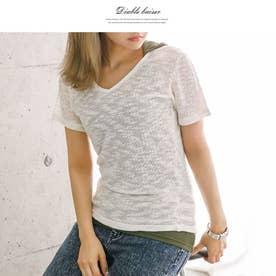 mix杢ニットソーTシャツ (ホワイト)