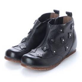 春ブーツ サマーブーツ ブーツ コサージュ 本革 (BL)