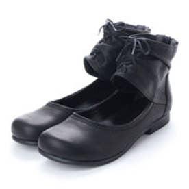 春ブーツ ショートブーツ ひも ファスナー 本革 日本製 (BL)