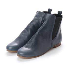 春ブーツ ショートブーツ フラット 両ゴム 本革 日本製 (BLUE)