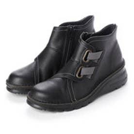 ブーツ ショートブーツ ゴム ファスナー 厚底 外反母趾 本革 日本製 4E ASW  (BL)