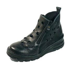 ブーツ 春ブーツ ショートブーツ パンチ 生地当て 本革 日本製 (BL)