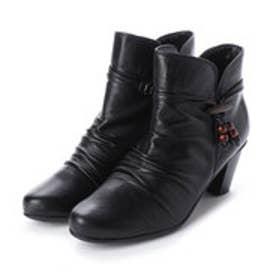 ブーツ ショートブーツ 外反母趾 シャーリング 日本製 本革 アクセサリー取り外しできます アクセサリ 木製 (BL)