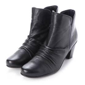 ブーツ ショートブーツ ヒール 本革 日本製 シャーリング しわしわ (BL)