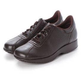 ラテックスソール ウォーキングシューズ ヒモ靴 ファスナー 日本製 外反母趾 本革 (DBR)