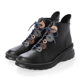 ブーツ 本革 日本製 編み上げ 厚底 カラーコンビ 外反母趾 ファスナー 歩きやすい (BL)