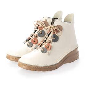 ブーツ 本革 日本製 編み上げ 厚底 カラーコンビ 外反母趾 ファスナー 歩きやすい  (IV)