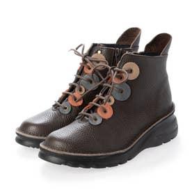 ブーツ 本革 日本製 編み上げ 厚底 カラーコンビ 外反母趾 ファスナー 歩きやすい (BR)