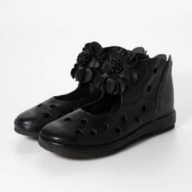 ブーツ ショートブーツ コサージュ 花 本革 日本製 外反母趾 (BL)