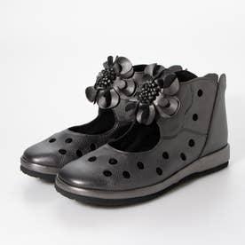 ブーツ ショートブーツ コサージュ 花 本革 日本製 外反母趾 (SILVER)