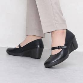 パンプス ウェッジ ウィッジ 本革 日本製 ベルト ゴム 歩きやすい 足長効果 (BL)