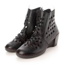 ブーツ サマーブーツ ウェッジ ウィッジ 本革 日本製 歩きやすい ファスナー 足長効果 (BL)
