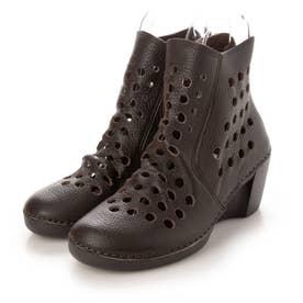 ブーツ サマーブーツ ウェッジ ウィッジ 本革 日本製 歩きやすい ファスナー 足長効果 (BR)
