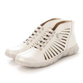 ブーツ サマーブーツ 本革 日本製 メッシュ フラット (WH)