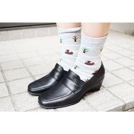 パンプス ウェッジ ウィッジ 本革 日本製 外反母趾 ローファー 靴下 ソックス (BL)