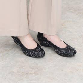 パンプス ウェッジ ウィッジ スパンコール 履き口 ゴム 本革 日本製 (BL)