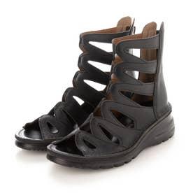 サマーブーツ ブーツ 4E 本革 日本製 厚底 外反母趾 (BL)